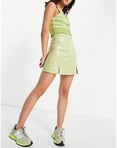 Мини юбка из зеленой лакированной кожи с разрезом спереди Muubaa