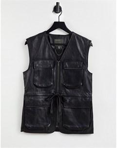 Черный кожаный жилет в утилитарном стиле с карманами спереди Muubaa