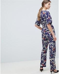 Комбинезон с рукавами кимоно и цветочным принтом Uttam boutique
