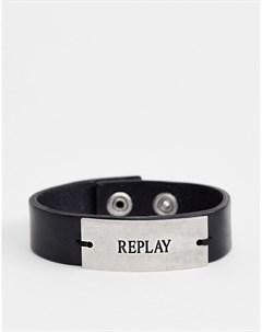 Черный кожаный браслет манжета с логотипом Черный Replay