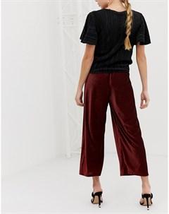 Бордовые укороченные брюки с широкими штанинами Красный Miss selfridge