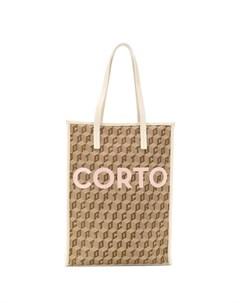 Corto moltedo сумка шопер со сплошным принтом логотипа нейтральные цвета Corto moltedo