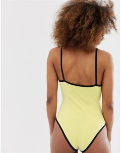 Боди в рубчик с контрастной окантовкой и логотипом на груди Ellesse Желтый