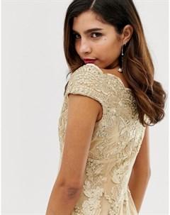 Кружевное платье макси со спущенными плечами и цветочным принтом City goddess