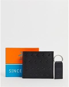 Складной бумажник и брелок для ключей Черный Original penguin