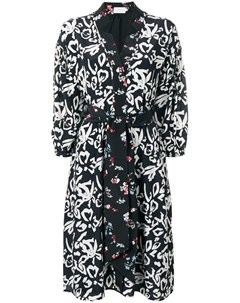 Tanya taylor платье с запахом и цветочным принтом 4 черный Tanya taylor