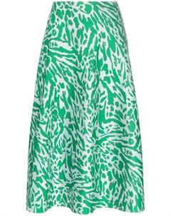 Vika gazinskaya юбка миди с леопардовым принтом и карманами 36 зеленый Vika gazinskaya