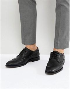 Черные кожаные броги со шнуровкой Zign