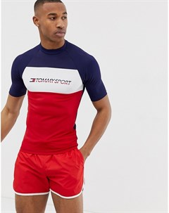 Рашгард колор блок темно синего красного и белого цвета с короткими рукавами и логотипом на груди Му Tommy sport