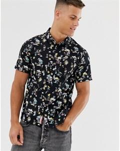 Черная рубашка с короткими рукавами и тропическим принтом Черный Superdry