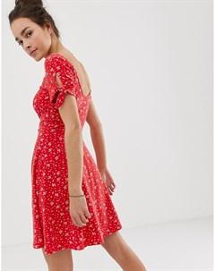 Красное платье с принтом Мульти Superdry
