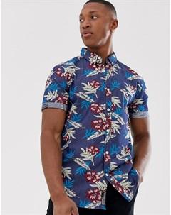 Приталенная рубашка с короткими рукавами Miami Синий Superdry