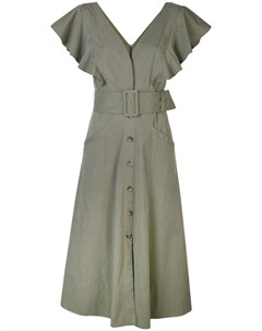 Tanya taylor платье миди inez с поясом 10 зеленый Tanya taylor