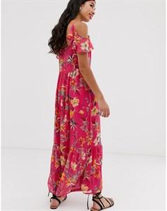 Розовое платье макси с цветочным принтом Pimkie