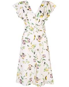 Tanya taylor платье миди inez с цветочным узором 12 нейтральные цвета Tanya taylor