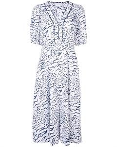 Tanya taylor расклешенное платье ariela с принтом 8 белый Tanya taylor