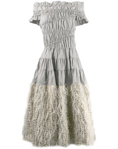 Jourden платье с перьями 42 серый Jourden