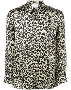 laneus атласная леопардовая рубашка 46 золотистый Laneus