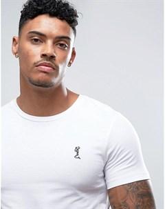 Белая обтягивающая футболка с круглым вырезом и логотипом Religion