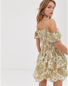 Платье мини со сборками и принтом пейсли Asos design