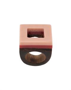 marni квадратное деревянное кольцо s розовый Marni