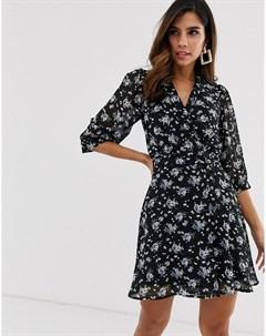 Платье с запахом и цветочным принтом Uttam boutique