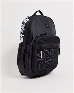 Черный рюкзак с большим логотипом Superdry