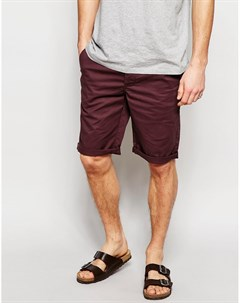 Бордовые узкие шорты чиносы Asos