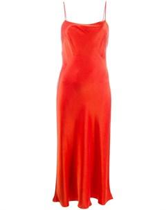 Bec bridge расклешенное платье миди на тонких бретелях 6 красный Bec & bridge