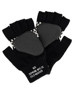 Supreme клетчатые перчатки митенки один размер черный Supreme