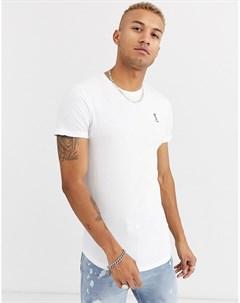 Белая футболка с асимметричным краем и отделкой лентой на спине Religion