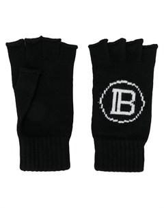 Balmain вязаные перчатки митенки с логотипом один размер черный Balmain