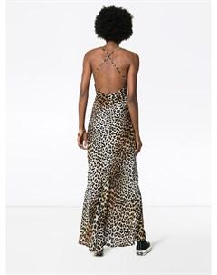 Rockins платье макси с леопардовым принтом xs коричневый Rockins