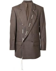 Hed mayner пиджак с контрастной строчкой на лацкане 44 коричневый Hed mayner