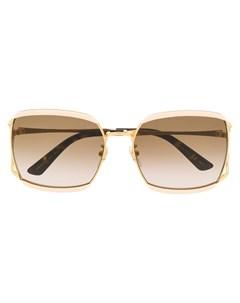 очки в квадратной оправе в полоску Gucci eyewear