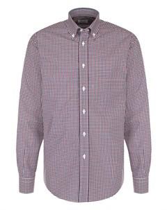 Хлопковая рубашка в клетку с воротником button down Brioni