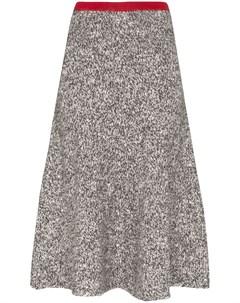 Vika gazinskaya меланжевая юбка с контрастным поясом l серый Vika gazinskaya