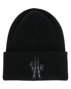 moncler grenoble шапка бини с нашивкой логотипом один размер черный Moncler grenoble