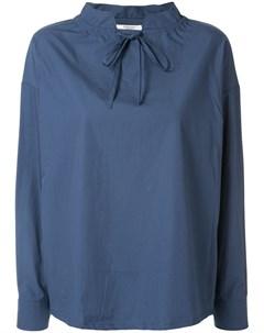 Atlantique ascoli блузка оверсайз с воротником на завязках синий Atlantique ascoli