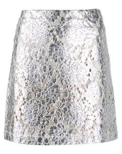 Кружевная юбка мини с эффектом металлик Jourden