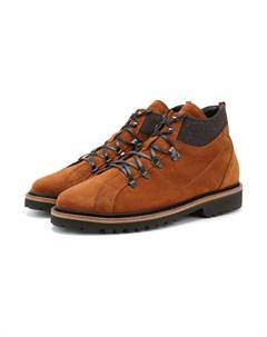Кожаные ботинки с внутренней меховой отделкой Kiton