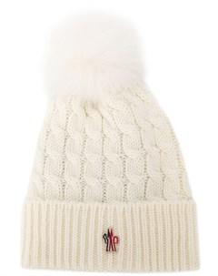 moncler grenoble шапка бини с помпоном один размер белый Moncler grenoble