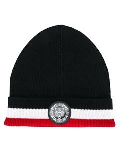 Plein sport шапка бини с трехцветной отделкой один размер черный Plein sport