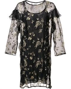 Suno прозрачное платье с рюшами 4 черный Suno