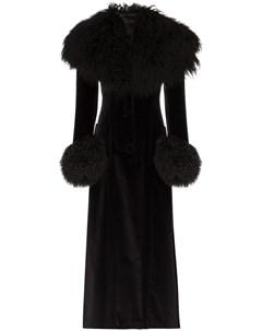 Rockins длинное пальто со вставками из овчины s черный Rockins
