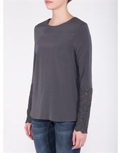 Шелковая блуза с кружевом Brunello cucinelli
