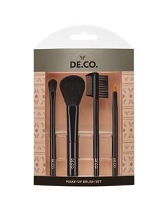 Набор мини кистей для макияжа 4 шт для пудры и румян теней губ бровей и ресниц Deco