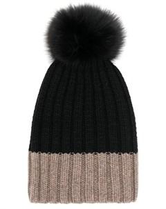 Danielapi двухцветная шапка с помпоном один размер черный Danielapi