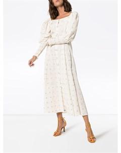 N duo платье миди с цветочным принтом и поясом 36 белый N duo