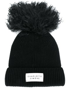 Charlotte simone кашемировая шапка бини с помпоном один размер черный Charlotte simone